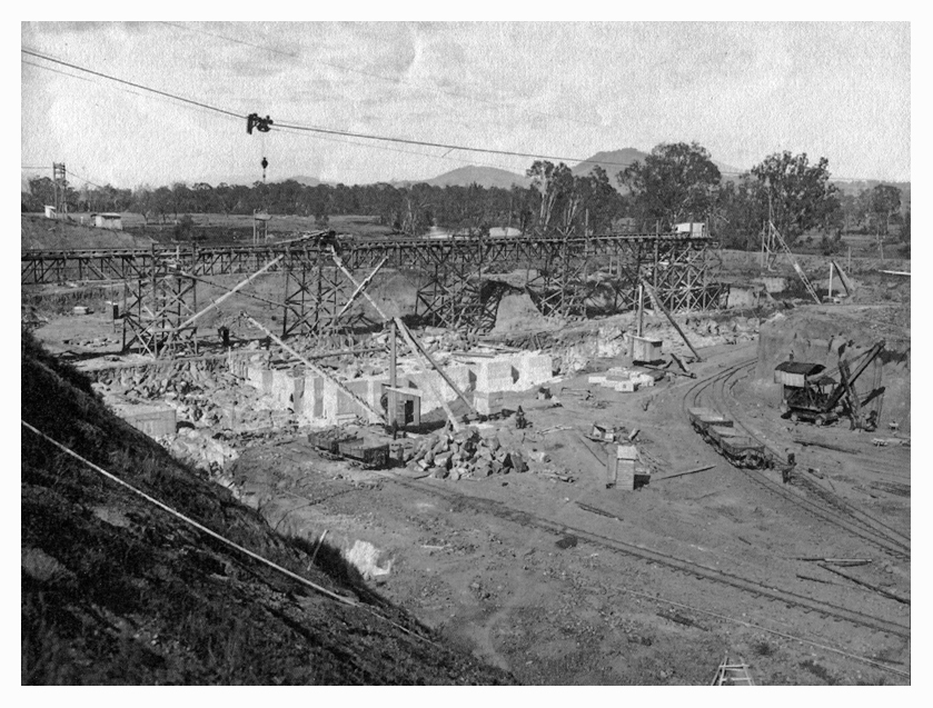 1924 Hume Weir early stage of spillway construction