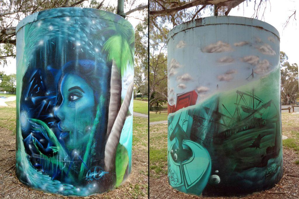 Water tank, Skate Park David St Albury, artist Kade Sarte